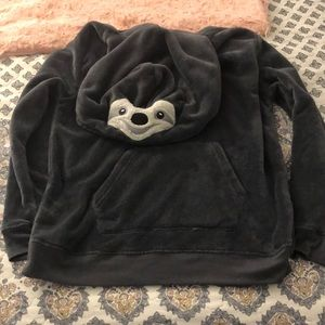 FUZZY SLOTH LOUNGING HOODIE
